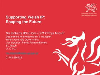 Supporting Welsh IP: Shaping the Future  Nia Roberts BScHons CPA CPhys MInstP Department for the Economy  Transport Wels