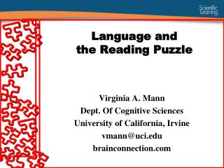 language and  the reading puzzle