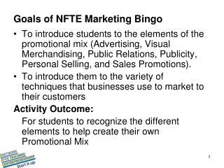 Goals of NFTE Marketing Bingo