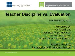 Teacher Discipline vs. Evaluation