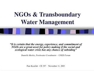 NGOs  Transboundary  Water Management