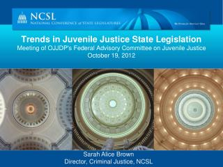 Trends in Juvenile Justice State Legislation Meeting of OJJDPs Federal Advisory Committee on Juvenile Justice October 19