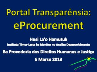 Portal Transpar nsia: eProcurement