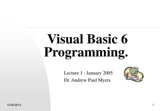 Visual Basic 6 Programming.