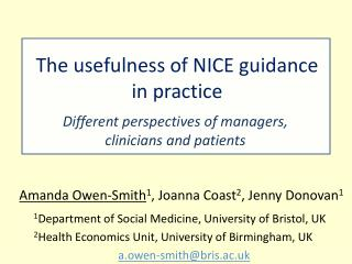 The usefulness of NICE guidance in practice