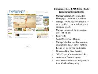 Experience Life CMS Case Study Requirements Highlights