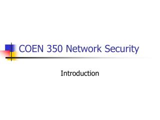 COEN 350 Network Security