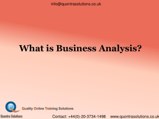 Basics ofBusiness Analyst By QuontraSolutions