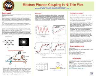 Electron-Phonon Coupling in Ni Thin Film Mark Wartenbe, Florida State Undergraduate Student Marcia Martin MAEd., Evergla