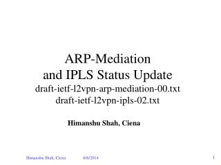 ARP-Mediation and IPLS Status Update draft-ietf-l2vpn-arp-mediation-00.txt draft-ietf-l2vpn-ipls-02.txt