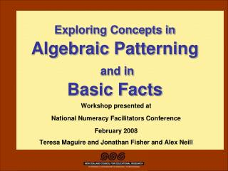 Exploring Concepts in Algebraic Patterning  and in  Basic Facts