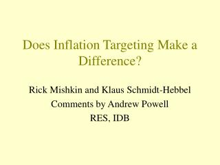 Does Inflation Targeting Make a Difference