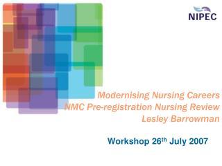 Modernising Nursing Careers NMC Pre-registration Nursing Review Lesley Barrowman