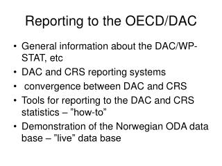 Reporting to the OECD