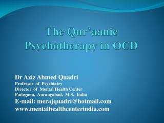 The Qur aanic Psychotherapy in OCD