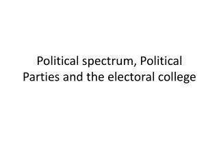 Political spectrum, Political Parties and the electoral college