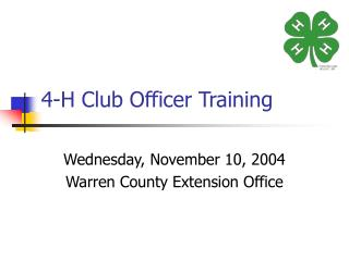 4-H Club Officer Training