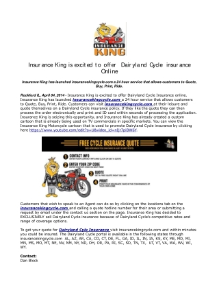 Insurance King is excited to offer Dairyland Cycle insurance