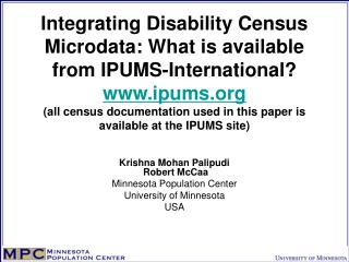 Integrating Disability Census Microdata: What is available from IPUMS-International ipums all census documentation used