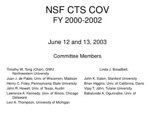 NSF CTS COV FY 2000-2002