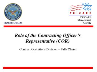 Role of the Contracting Officer s Representative COR