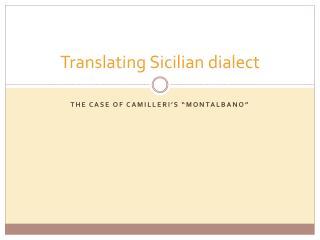 Translating Sicilian dialect