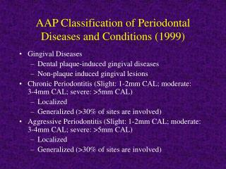aap classification of periodontal diseases and conditions 1999