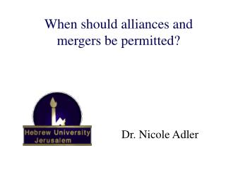 When should alliances and mergers be permitted   The case of applied game theory
