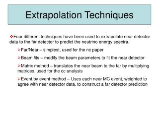 Extrapolation Techniques