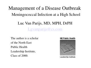 management of a disease outbreak   meningococcal infection at a high school