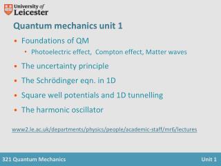 Quantum mechanics unit 1