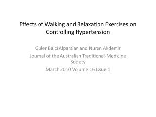 Effects of Walking and Relaxation Exercises on Controlling Hypertension