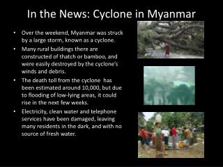 In the News: Cyclone in Myanmar