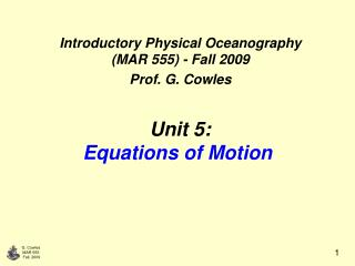 Unit 5: Equations of Motion