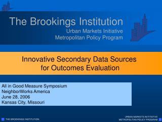 Urban Markets Initiative Metropolitan Policy Program