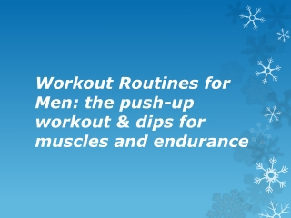 Workout Routines for Men: the push-up workout