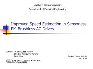 Improved Speed Estimation in Sensorless PM Brushless AC Drives
