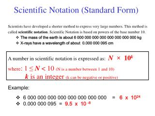 Scientific Notation Standard Form