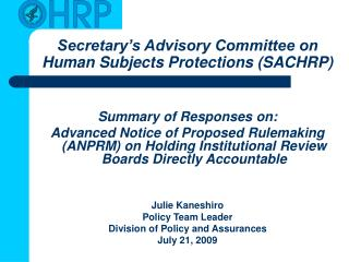 Secretary s Advisory Committee on Human Subjects Protections SACHRP