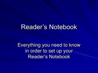 Reader s Notebook