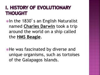 I. History of evolutionary thought
