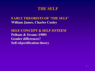 THE SELF  EARLY THEORISTS OF  THE SELF  William James, Charles Cooley  SELF-CONCEPT  SELF-ESTEEM Pelham  Swann 1989 Gend