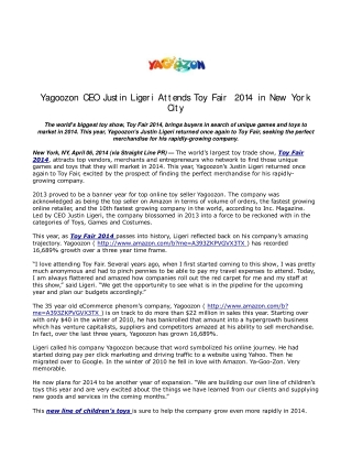 Yagoozon CEO Justin Ligeri Attends Toy Fair 2014 in New York