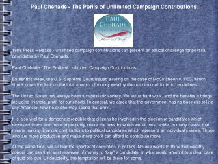 Paul Chehade - The Perils of Unlimited Campaign Contribution