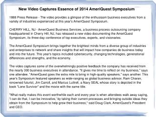 New Video Captures Essence of 2014 AmeriQuest Symposium