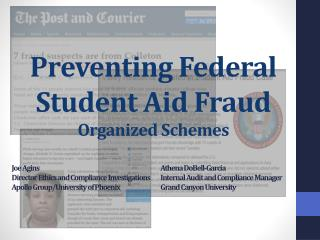 Preventing Federal Student Aid Fraud Organized Schemes