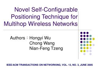 Novel Self-Configurable Positioning Technique for Multihop Wireless Networks