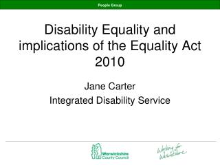 Disability Equality and implications of the Equality Act 2010