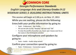 This session will begin at 3:30 p.m. on Nov. 17, 2011 While you are waiting, please do the following: Enter