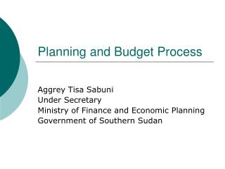 planning and budget process